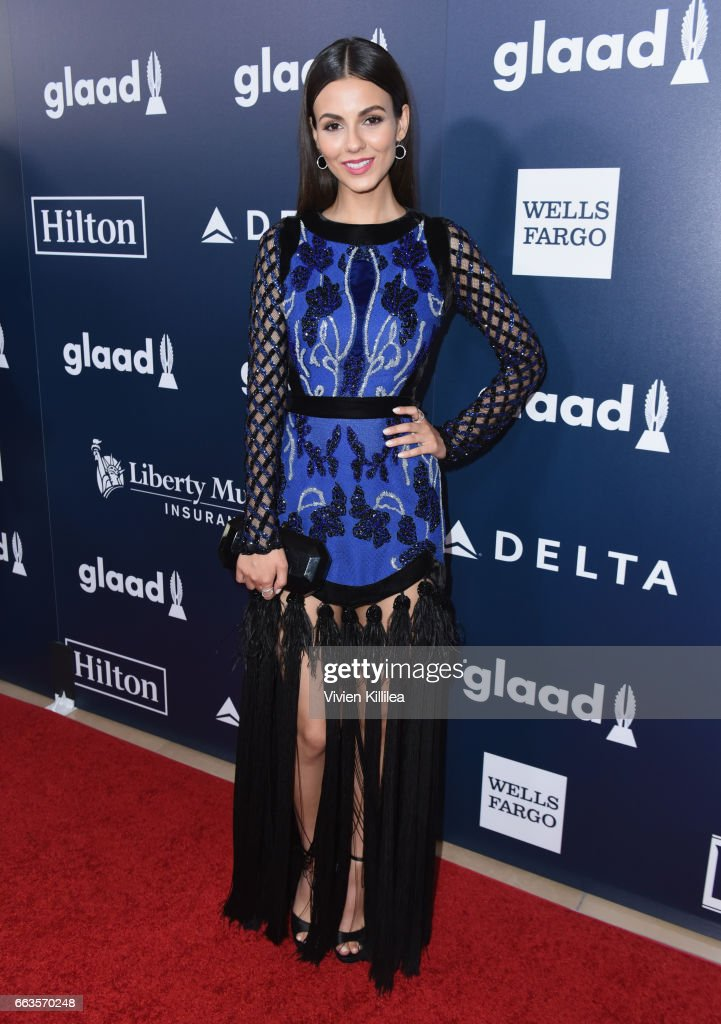 Actor Victoria Justice attends the 28th Annual GLAAD Media Awards in LA at The Beverly Hilton Hotel on April 1, 2017 in Beverly Hills, California.