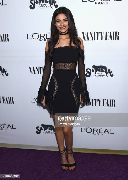 Actor Victoria Justice attends Vanity Fair and L'Oreal Paris Toast to Young Hollywood hosted by Dakota Johnson and Krista Smith at Delilah on...
