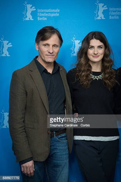 Actor Viggo Mortensen and Actress Daisy Bevan attend the 'The Two Faces of January' photocall during 64th Berlinale International Film Festival at...
