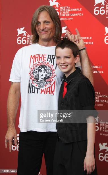 """Actor Viggo Mortensen and Kodi Smit-McPhee attend """"The Road"""" photocall at the Palazzo del Casino during the 66th Venice Film Festival on September 3,..."""