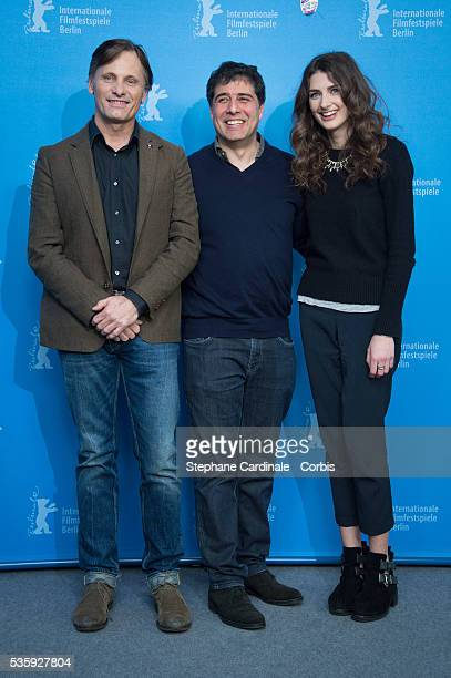 Actor Viggo Mortensen director Hossein Amini and actress Daisy Bevan attend the 'The Two Faces of January' photocall during 64th Berlinale...