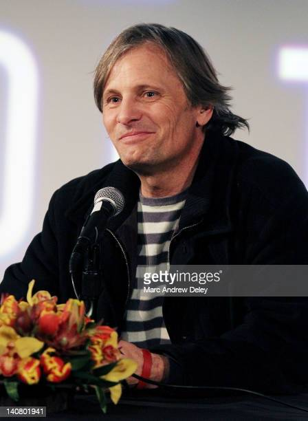 Actor Viggo Mortensen is honored at the 2012 Coolidge Award presentation press conference at the Coolidge Theater on March 5, 2012 in Brookline,...