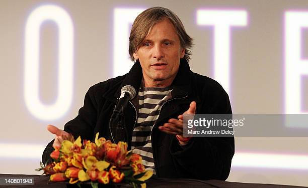 Actor Viggo Mortensen is honored at the 2012 Coolidge Award presentation press conference at the Coolidge Theater on March 5 2012 in Brookline...