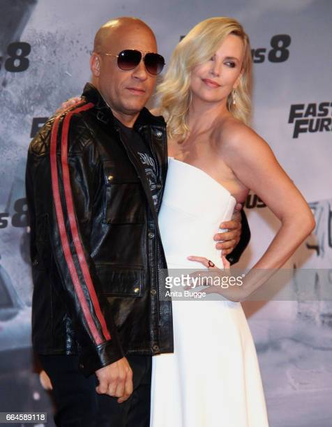 Actor Vin Diesel and actress Charlize Theron attend the 'Fast Furious 8' Berlin premiere at Sony Centre on April 4 2017 in Berlin Germany