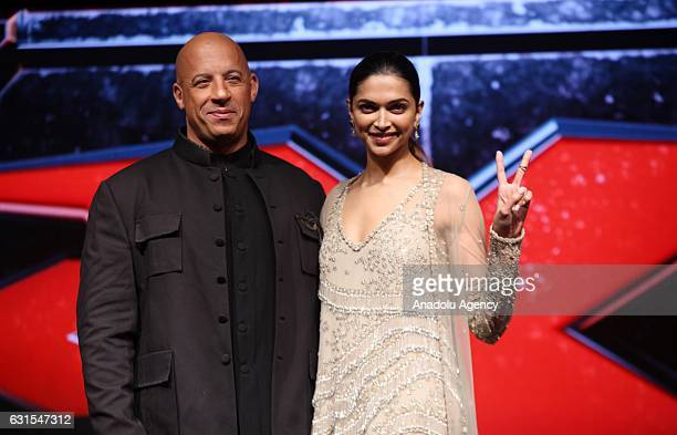 Actor Vin Diesel and actress Deepika Padukone pose for a photo during press conference held to promote their film xXx Return of Xander Cage in Mumbai...
