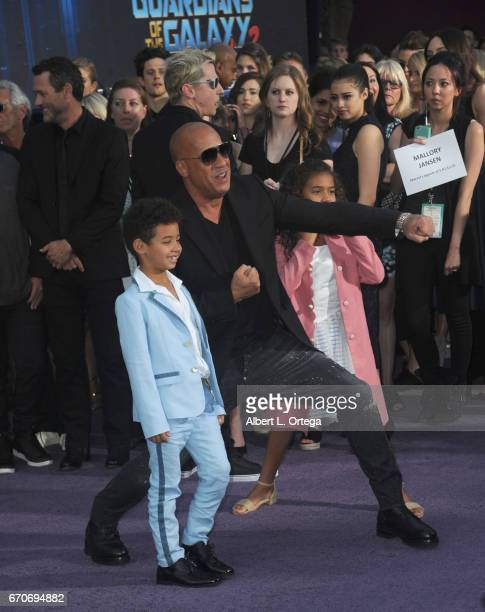 Actor Vin Diesel and children Vincent Sinclair and Hania Sinclair arrive for the Premiere Of Disney And Marvel's Guardians Of The Galaxy Vol 2 held...