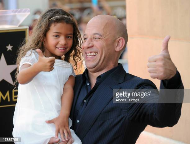 Actor Vin Diesel and daughter Hania Riley participate in the Star Ceremony for Vin Diesel on the Hollywood Walk Of Fame held on August 26 2013 in...