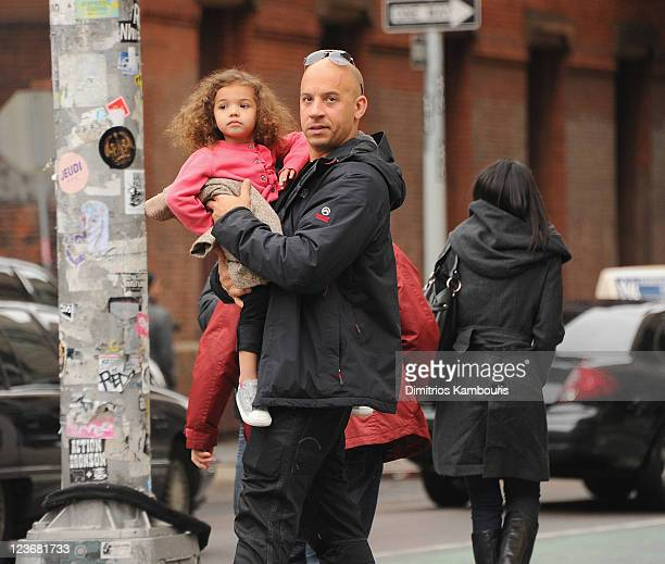 Actor Vin Diesel and daughter Hania Riley seen on the streets of Manhattan on May 4 2011 in New York City