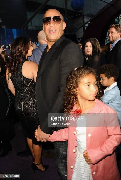 Actor Vin Diesel and daughter Hania Riley Sinclair attend the premiere of Guardians of the Galaxy Vol 2 at Dolby Theatre on April 19 2017 in...