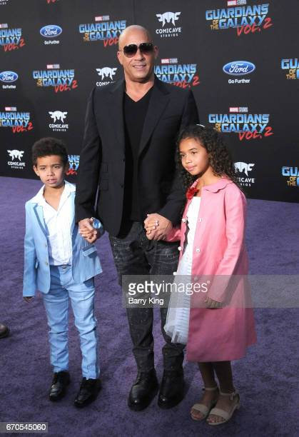Actor Vin Diesel and his son Vincent Sinclair and daughter Hania Riley Sinclair attend world premiere of Disney and Marvel's' 'Guardians Of The...