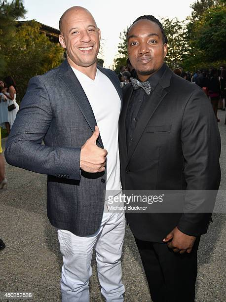 Actor Vin Diesel and recipient of the John Dillon Award Darius Coffey inside the 13th Annual Chrysalis Butterfly Ball sponsored by Audi Kayne...