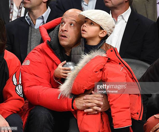 Actor Vin Diesel and son Vincent Sinclair attend the 2016 NBA All-Star Game at Air Canada Centre on February 14, 2016 in Toronto, Canada.