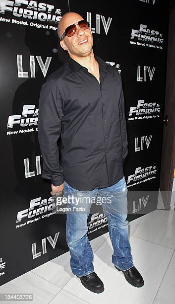Actor Vin Diesel arrives at the Fast Furious release party at LIV Fontainebleau Miami Beach on March 9 2009 in Miami Beach Florida