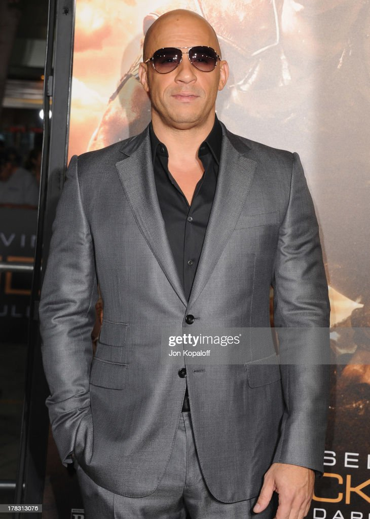 Actor Vin Diesel arrives at the Los Angeles Premiere 'Riddick' at the Mann Village Theater on August 28, 2013 in Westwood, California.