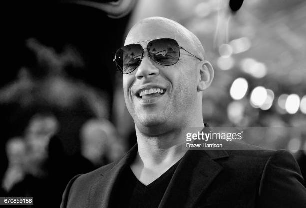 Image converted to Black and White Actor Vin Diesel arrives at the premiere of Disney and Marvel's 'Guardians Of The Galaxy Vol 2' at Dolby Theatre...