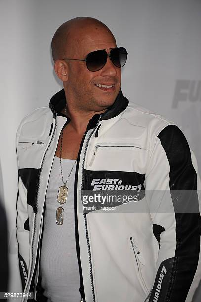 Actor Vin Diesel arrives at the premiere of Furious 7 held at the TCL Chinese Theater in Hollywood
