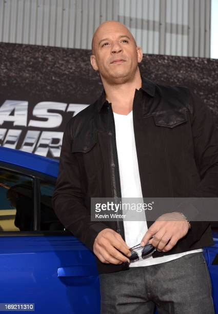 Actor Vin Diesel arrives at the premiere of Universal Pictures' 'Fast Furious 6' at Gibson Amphitheatre on May 21 2013 in Universal City California
