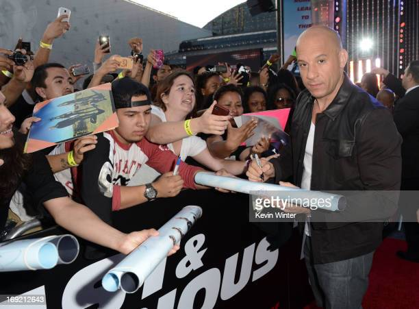 Actor Vin Diesel arrives at the premiere of Universal Pictures' Fast Furious 6 at Gibson Amphitheatre on May 21 2013 in Universal City California