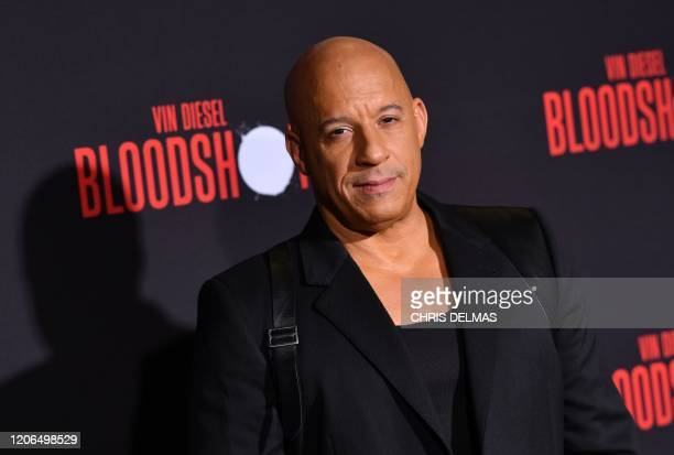 US actor Vin Diesel arrives for the premiere of Sony's Bloodshot at the Regency Village theatre on March 10 2020 in Westwood California