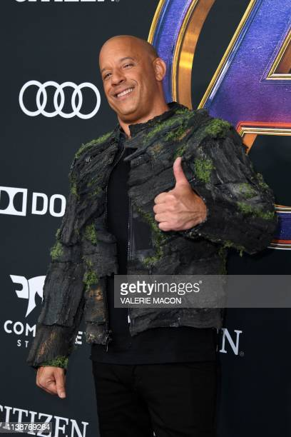 US actor Vin Diesel arrives for the World premiere of Marvel Studios' Avengers Endgame at the Los Angeles Convention Center on April 22 2019 in Los...