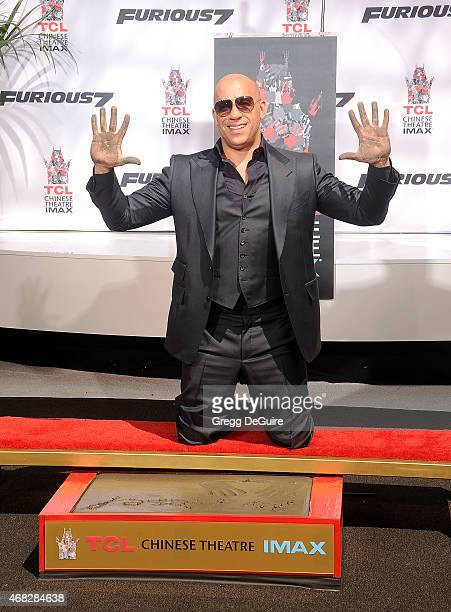 Actor Vin Diesel at his Hand/Footprint Ceremony At TCL Chinese Theatre at TCL Chinese Theatre IMAX on April 1 2015 in Hollywood California