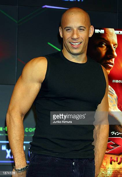 Actor Vin Diesel attends a press conference for his new film, xXx, on September 9, 2002 in Shinjuku, Tokyo, Japan.