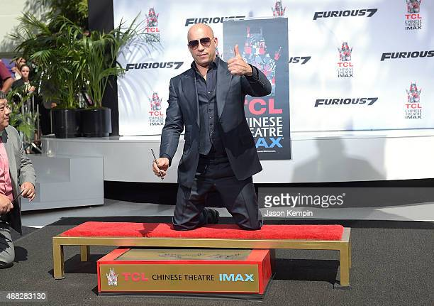 Actor Vin Diesel attends his hand and footprint ceremony at TCL Chinese Theatre IMAX on April 1 2015 in Hollywood California