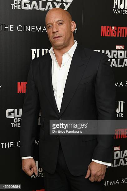Actor Vin Diesel attends The Cinema Society with Men's Fitness and FIJI Water special screening of Marvel's Guardians of the Galaxy at Crosby Street...