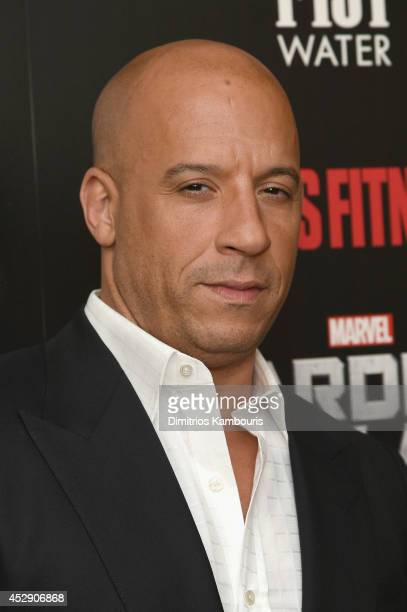 "Actor Vin Diesel attends The Cinema Society with Men's Fitness and FIJI Water special screening of Marvel's ""Guardians of the Galaxy"" at Crosby..."