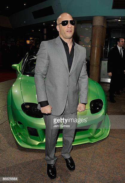 Actor Vin Diesel attends the Fast and Furious film premiere held at the Vue West End cinema on March 19 2009 in London England