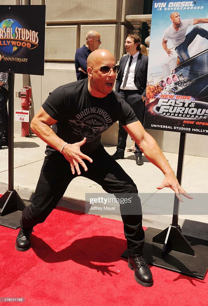 Actor Vin Diesel attends the 'Fast & Furious - Supercharged' ride premiere at Universal Studios Hollywood on June 23, 2015 in Universal City, California.