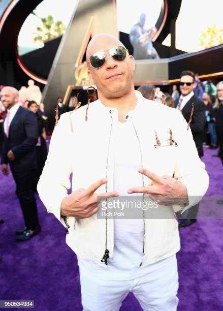 Actor Vin Diesel attends the Los Angeles Global Premiere for Marvel Studios' Avengers: Infinity War on April 23, 2018 in Hollywood, California.