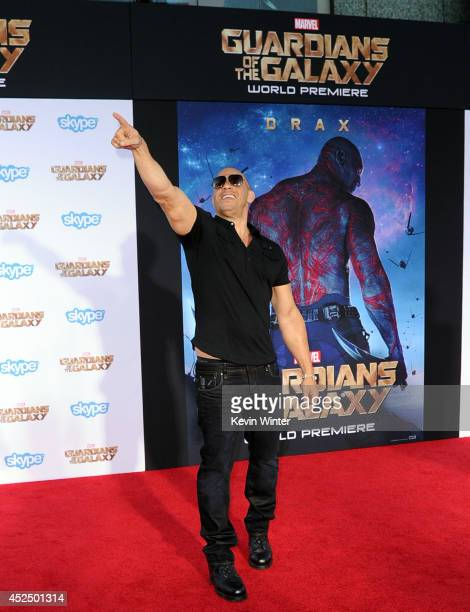 Actor Vin Diesel attends the premiere of Marvel's 'Guardians Of The Galaxy' at the Dolby Theatre on July 21 2014 in Hollywood California