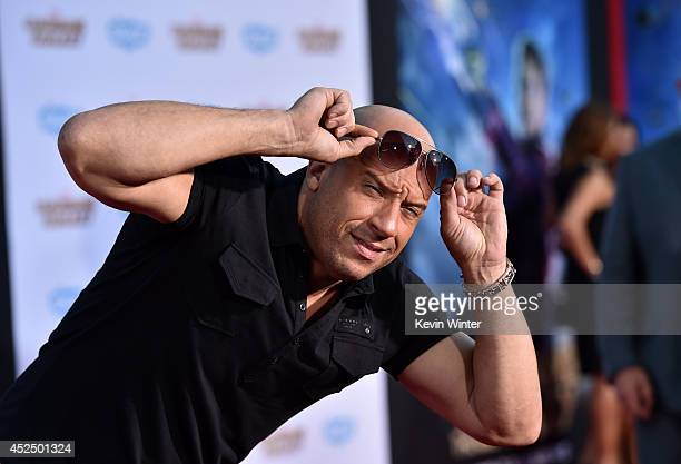 "Actor Vin Diesel attends the premiere of Marvel's ""Guardians Of The Galaxy"" at the Dolby Theatre on July 21, 2014 in Hollywood, California."