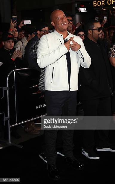 Actor Vin Diesel attends the premiere of Paramount Pictures' xXx Return of Xander Cage at TCL Chinese Theatre IMAX on January 19 2017 in Hollywood...