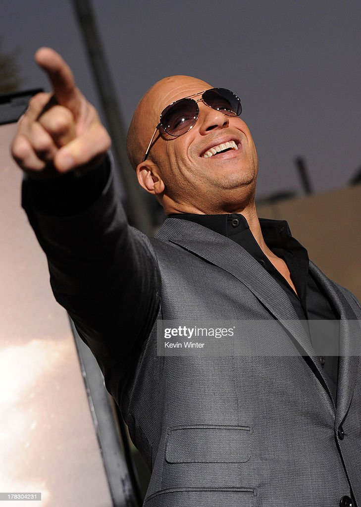 Actor Vin Diesel attends the premiere of Universal Pictures' 'Riddick' at Mann Village Theatre on August 28, 2013 in Westwood, California.