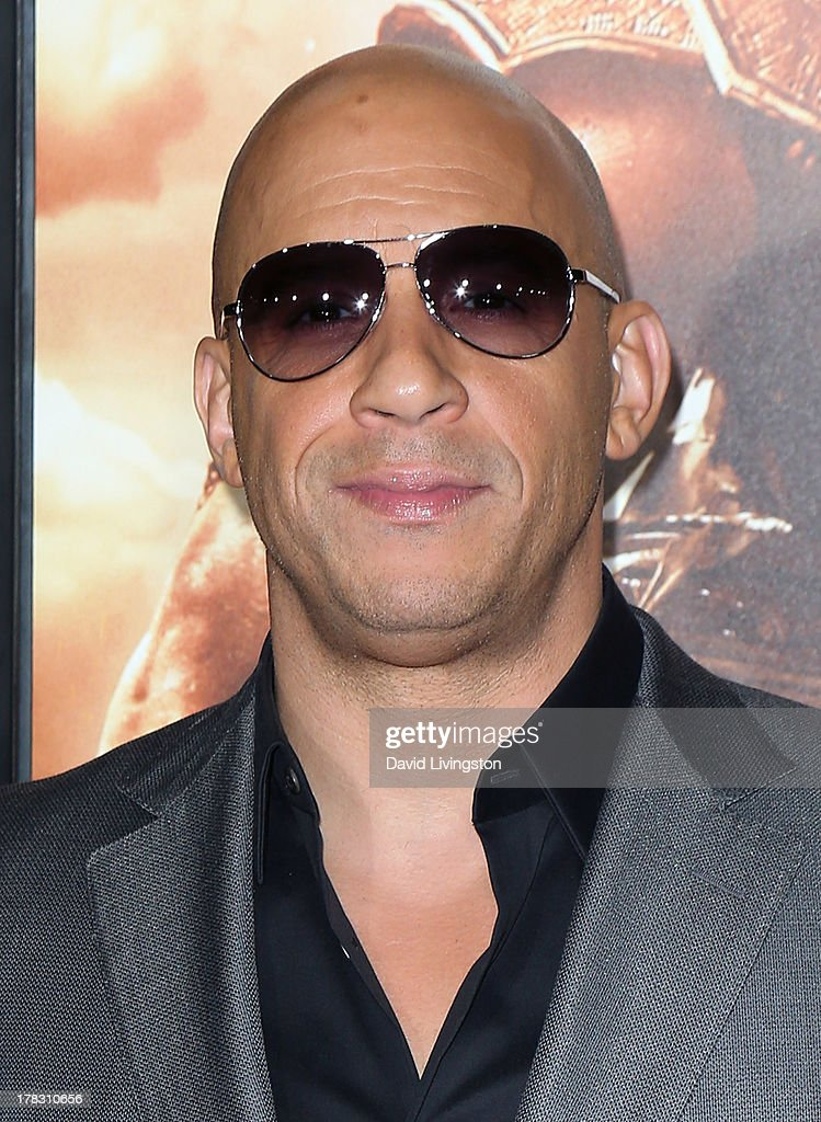 Actor Vin Diesel attends the premiere of Universal Pictures' 'Riddick' at the Mann Village Theatre on August 28, 2013 in Westwood, California.
