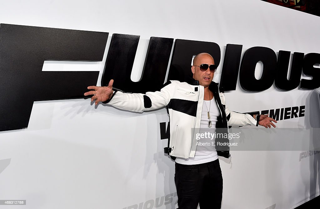 Actor Vin Diesel attends Universal Pictures' 'Furious 7' premiere at TCL Chinese Theatre on April 1, 2015 in Hollywood, California.