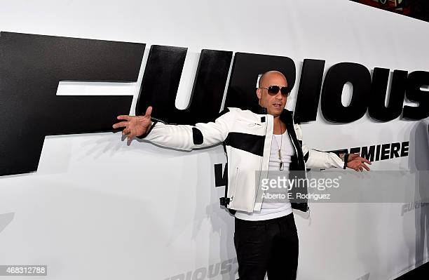 Actor Vin Diesel attends Universal Pictures' 'Furious 7' premiere at TCL Chinese Theatre on April 1 2015 in Hollywood California