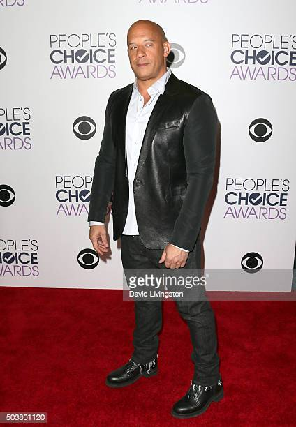 Actor Vin Diesel poses in the press room during the People's Choice Awards 2016 at Microsoft Theater on January 6 2016 in Los Angeles California