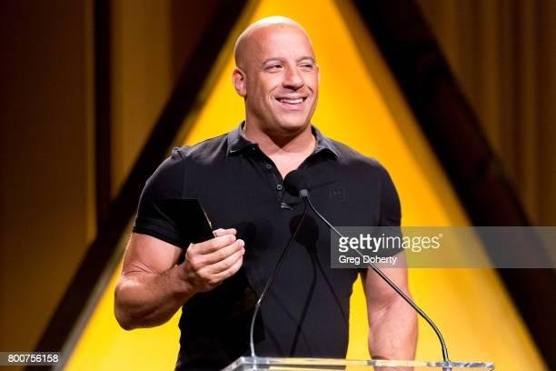 Actor Vin Diesel presents an award at the NALIP 2017 Latino Media Awards at The Ray Dolby Ballroom at Hollywood Highland Center on June 24 2017 in...