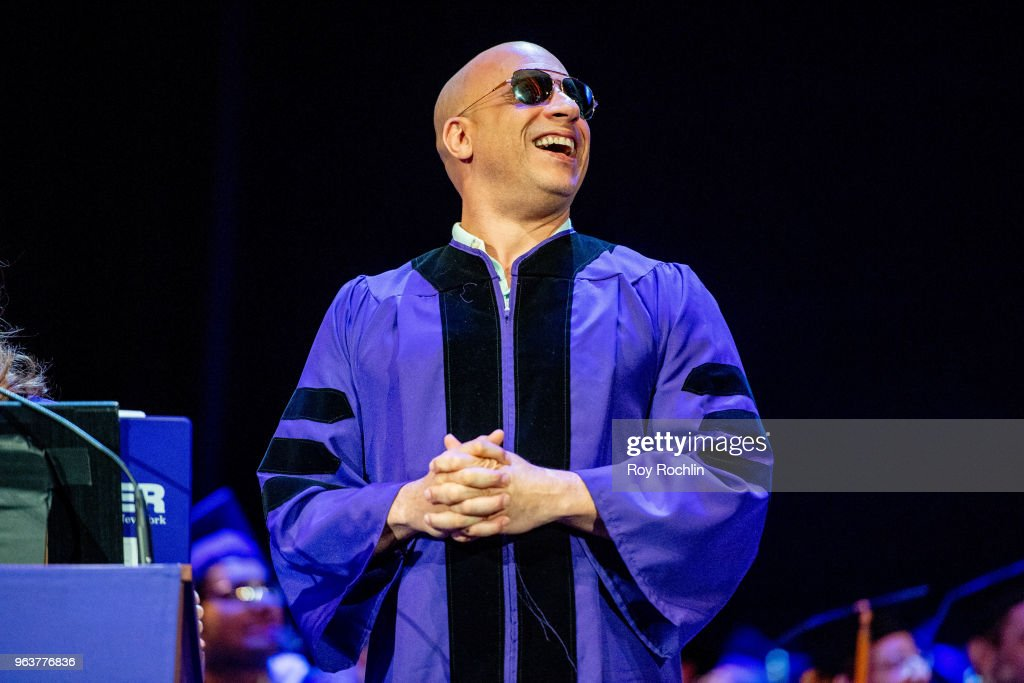 Actor Vin Diesel receives his Honorary Doctor of Humane Letters during the Hunter College 2018 Commencement ceremony at Radio City Music Hall on May 30, 2018 in New York City.