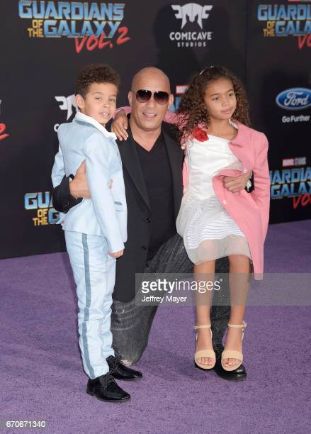 Actor Vin Diesel son Vincent Sinclair and daughter Hania Riley Sinclair arrive at the Premiere Of Disney And Marvel's 'Guardians Of The Galaxy Vol 2'...