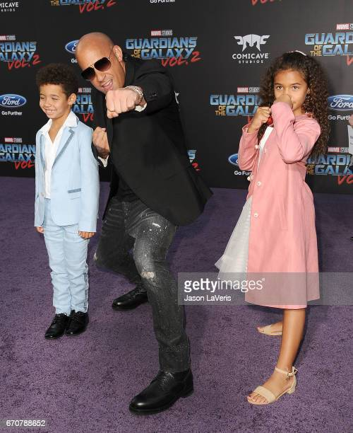 Actor Vin Diesel son Vincent Sinclair and daughter Hania Riley Sinclair attend the premiere of Guardians of the Galaxy Vol 2 at Dolby Theatre on...