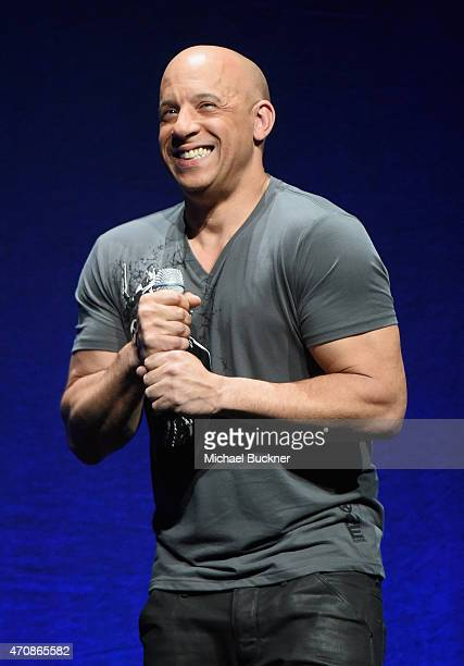 Actor Vin Diesel speaks onstage at Universal Pictures Invites You to an Exclusive Product Presentation Highlighting its Summer of 2015 and Beyondat...