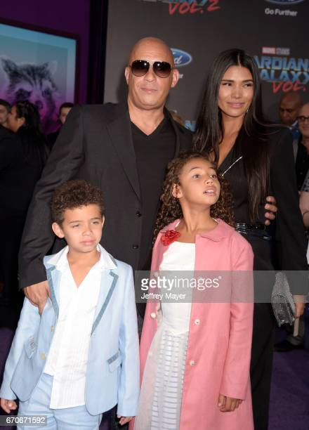 Actor Vin Diesel wife Paloma Jimenez son Vincent Sinclair and daughter Hania Riley Sinclair arrive at the Premiere Of Disney And Marvel's 'Guardians...