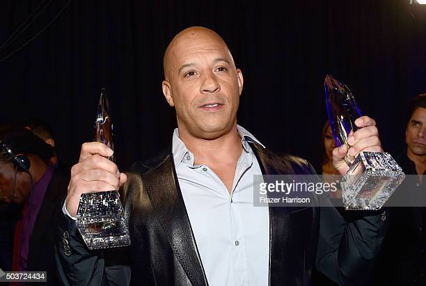 Actor Vin Diesel winner of the award for Favorite Movie attends the People's Choice Awards 2016 at Microsoft Theater on January 6 2016 in Los Angeles...