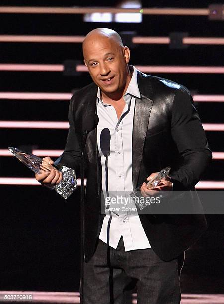 Actor Vin Diesel winner of the award for Favorite Movie speaks onstage during the People's Choice Awards 2016 at Microsoft Theater on January 6 2016...