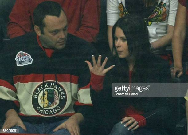 Actor Vince Vaugh and his fiancee Kyla Weber attend Game Two of the Western Conference Quarterfinals of the 2009 Stanley Cup Playoffs between the...