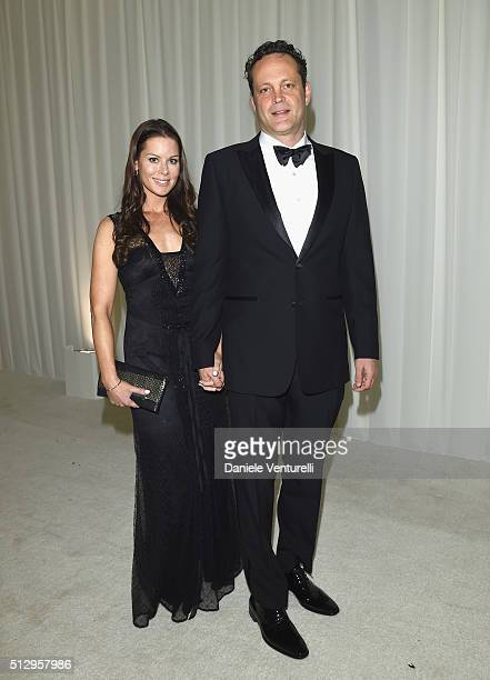 Actor Vince Vaughn and Kyla Weber attend Bulgari at the 24th Annual Elton John AIDS Foundation's Oscar Viewing Party at The City of West Hollywood...